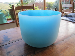 blue infused frosted bowl note G