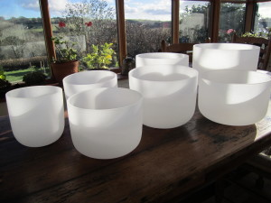 frosted white quartz crystal singing bowls